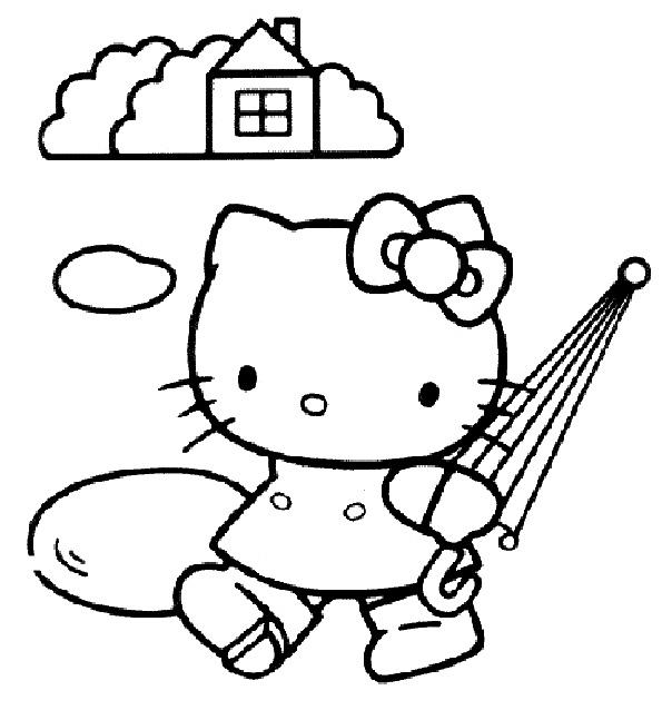 Hello Kitty Walking ausmalen