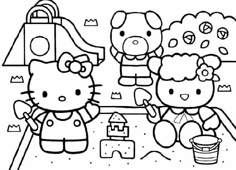 Hello Kitty spielen mit Sand
