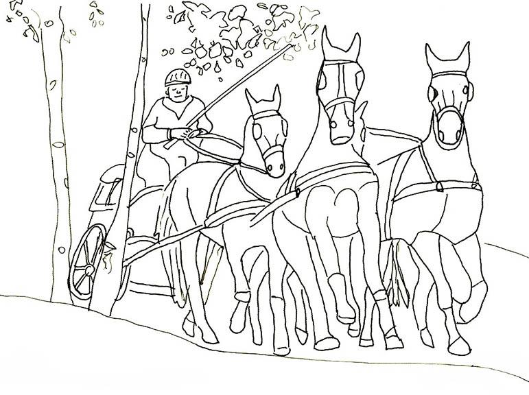 malvorlagen Pferde mit kutsche
