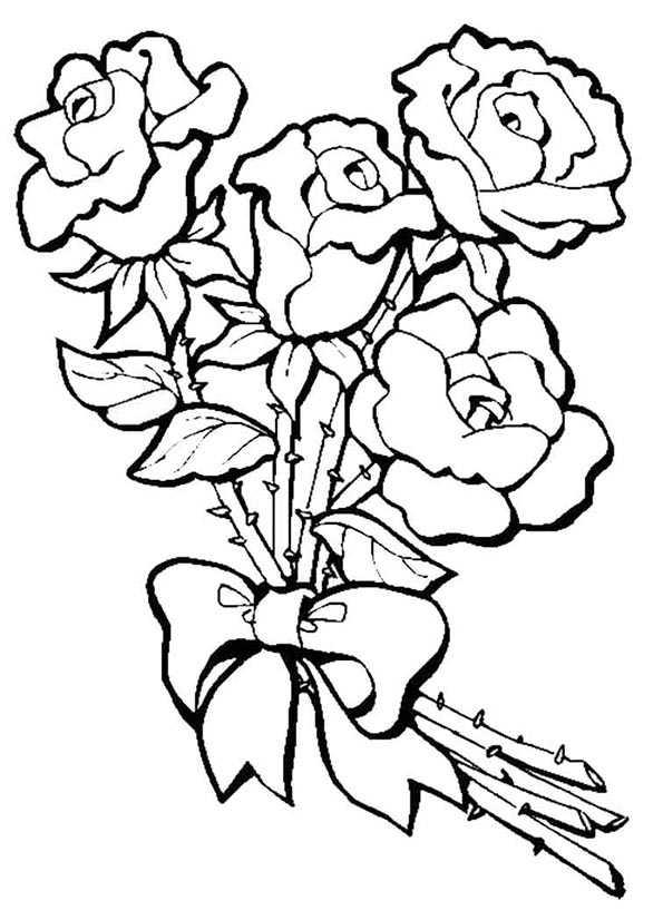 Bouquet von Rosen malvorlagen gratis