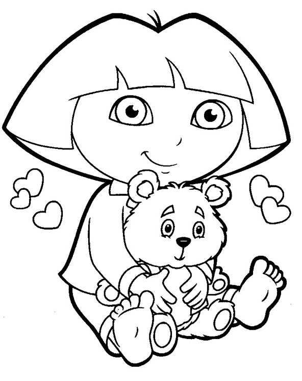 Dora mit ihrem Teddybären