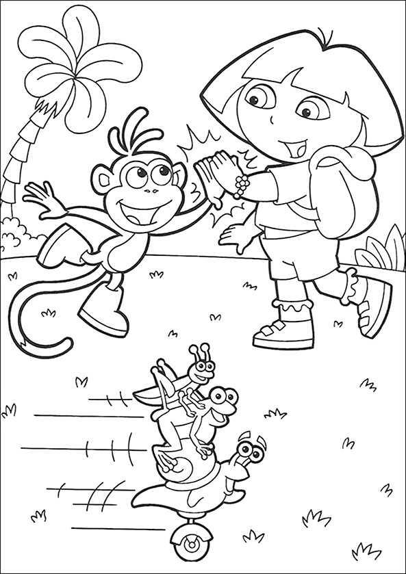 Dora und Boots glücklich