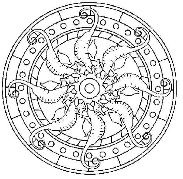 Mandala mit 8 Seepferdchen rund um