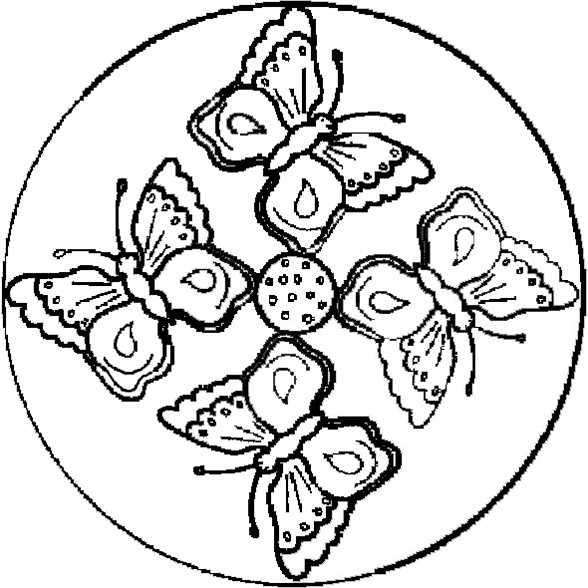 Mandala mit vier Schmetterlingen