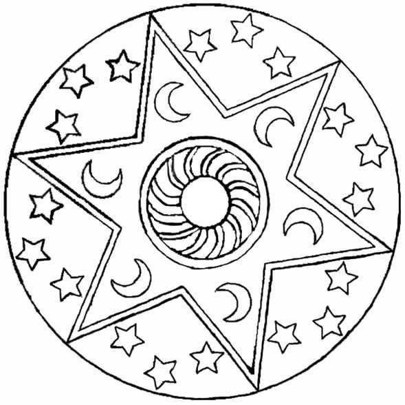 mandala mit Mond und Sterne