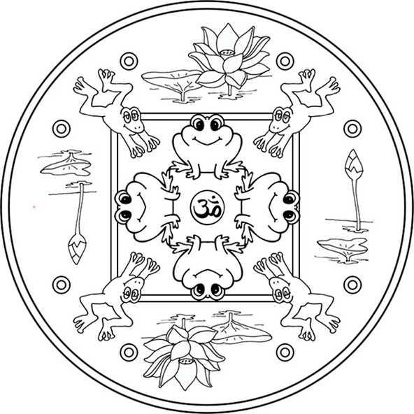 mandala mit Frösche und Teich