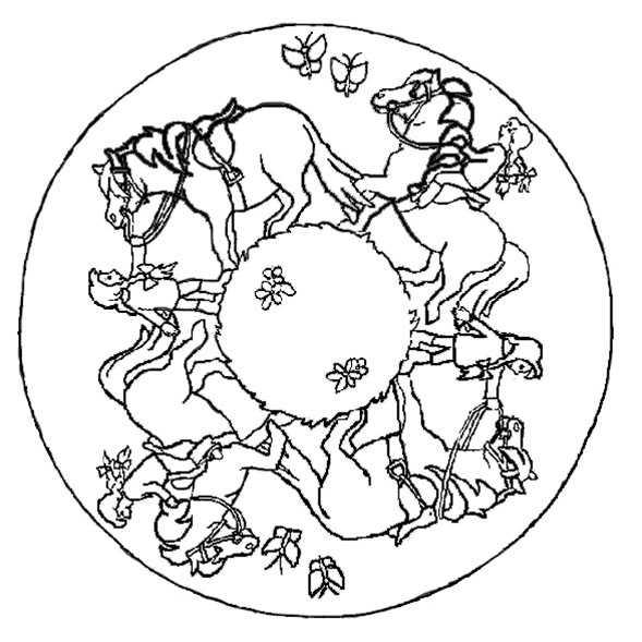 mandala mit pferde und reiter