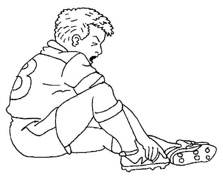 Fußballspieler in den Fuß getroffen zum ausmalen