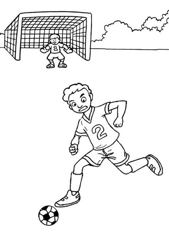 Ein Spieler mit dem Ball vor dem Tor