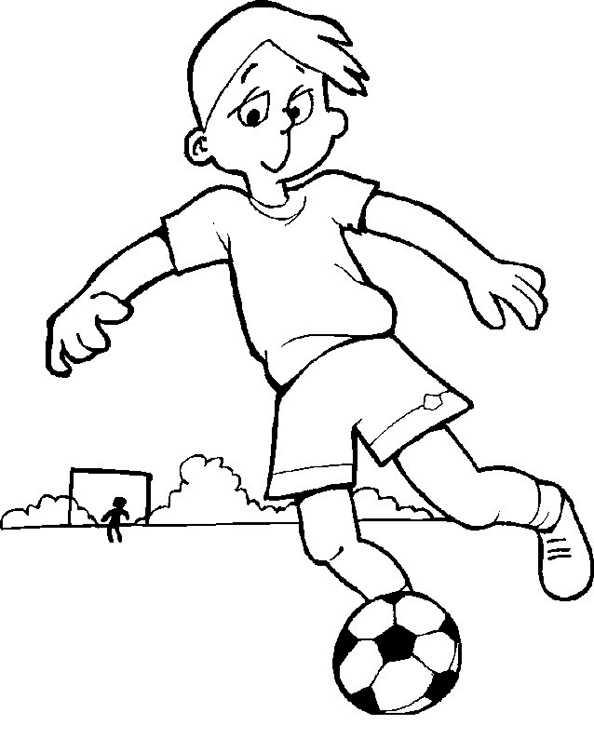 Fußballer dribbelt mit Ball