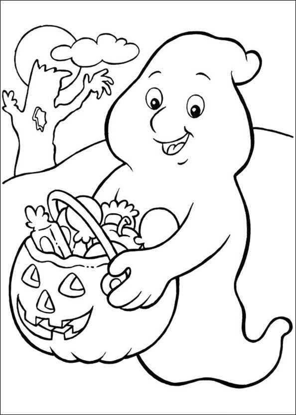 kleine Gespenst mit Kürbis Halloween