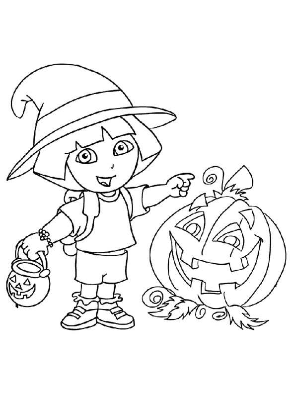Dora im Halloween zum ausmalen