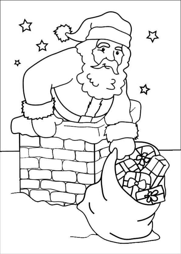 Weihnachtsmann kommt durch den Schornstein