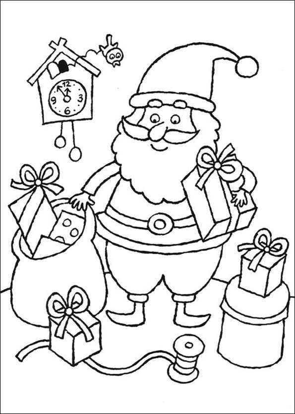 Weihnachtsmann verlässt Geschenke in einem Haus