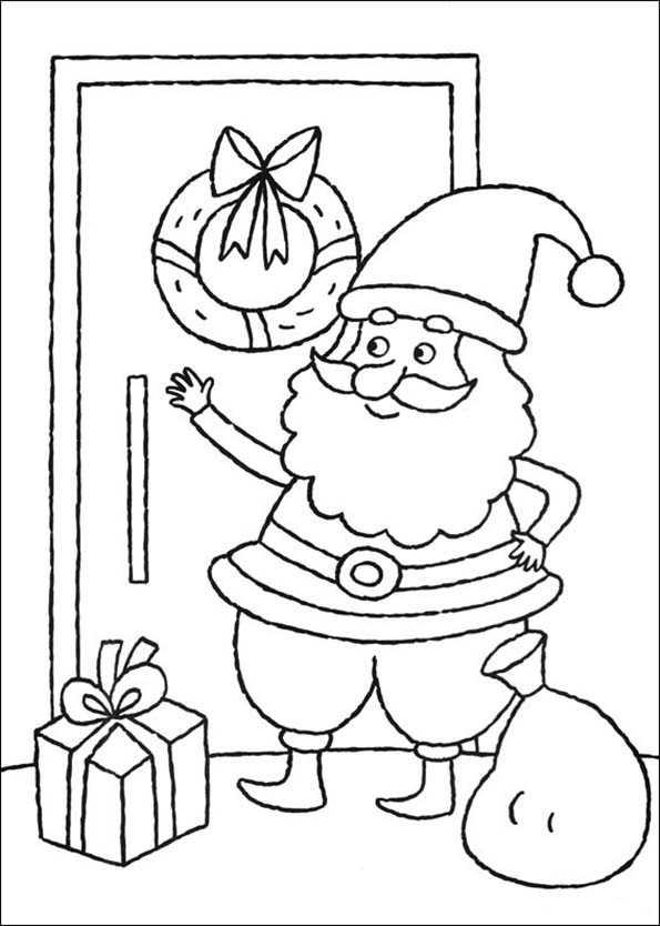 Weihnachtsmann kommt mit Geschenk