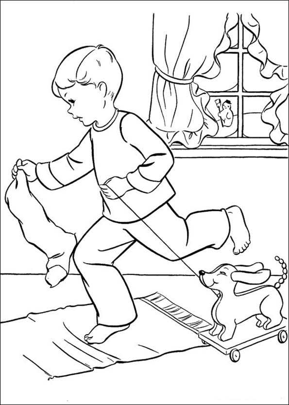 Ein Junge läuft auf die Socke für Geschenke verlassen