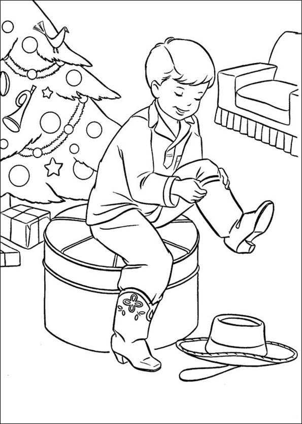 Ein Junge und seine Cowboy-Stiefel