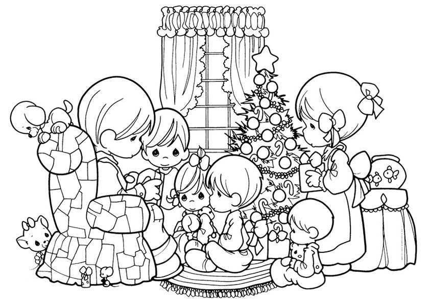 Versammelten rund um den Weihnachtsbaum