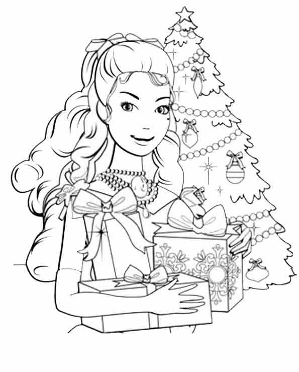 Barbie mit Weihnachtsgeschenke