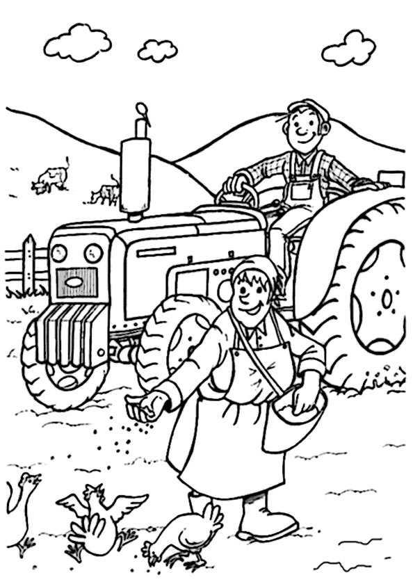 Traktor im Bauernhof zum ausmalen 2
