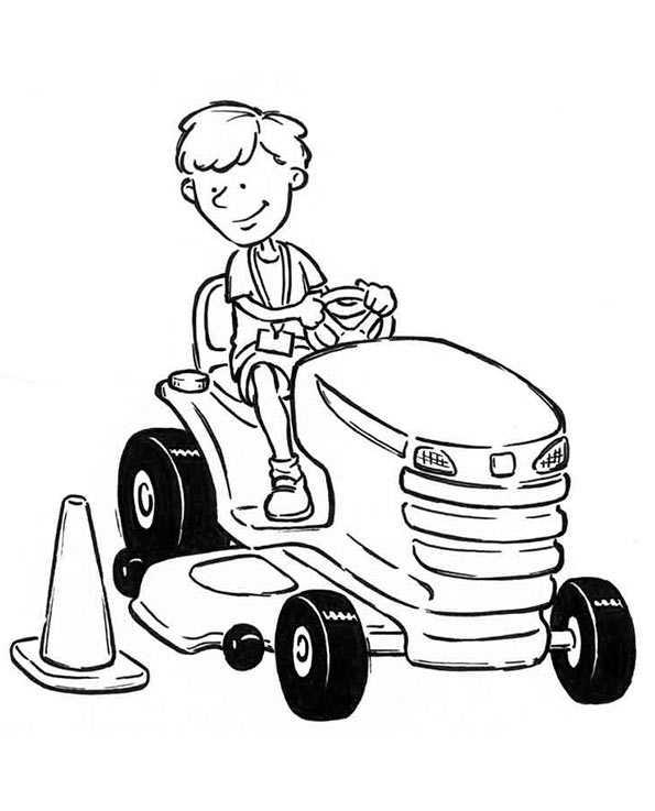 Kinder mit kleine Traktor zum ausmalen