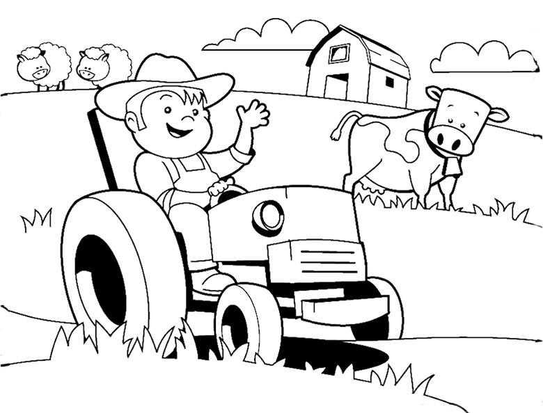 traktor mit jungen zum ausmalen