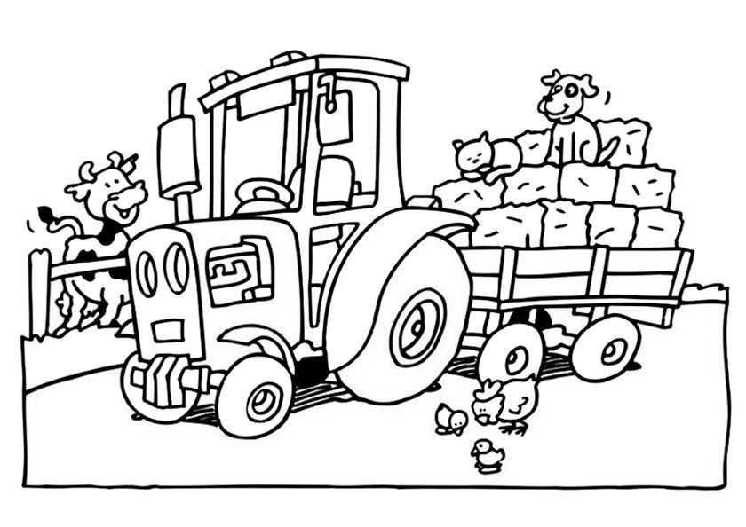 Traktor auf dem Bauernhof 2 zum malen