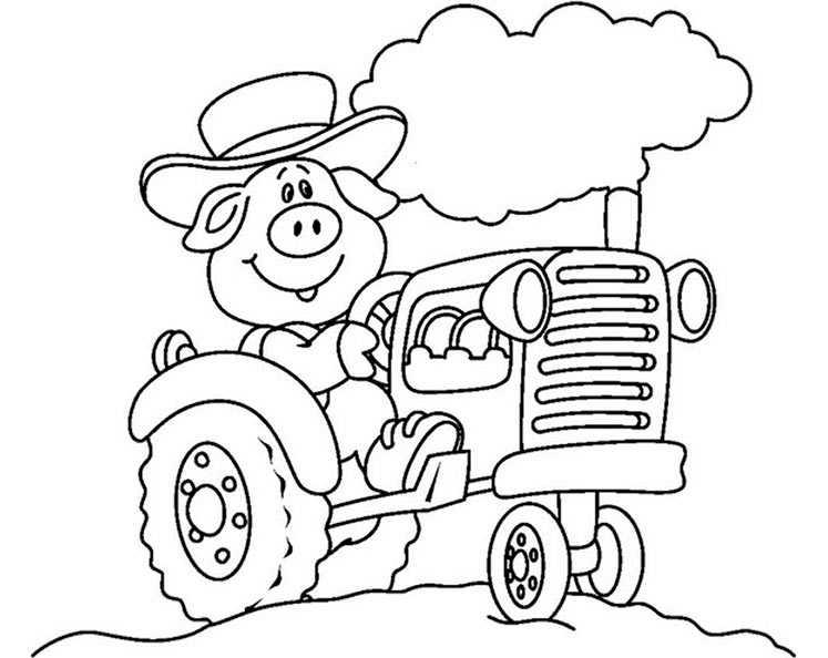 Ferkel mit Traktor zum malen