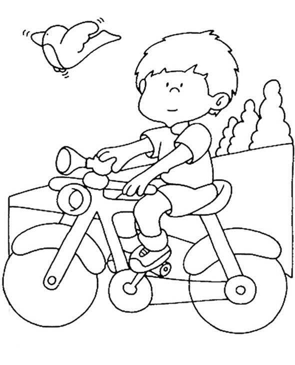 Junge mit Fahrrad zum ausmalen