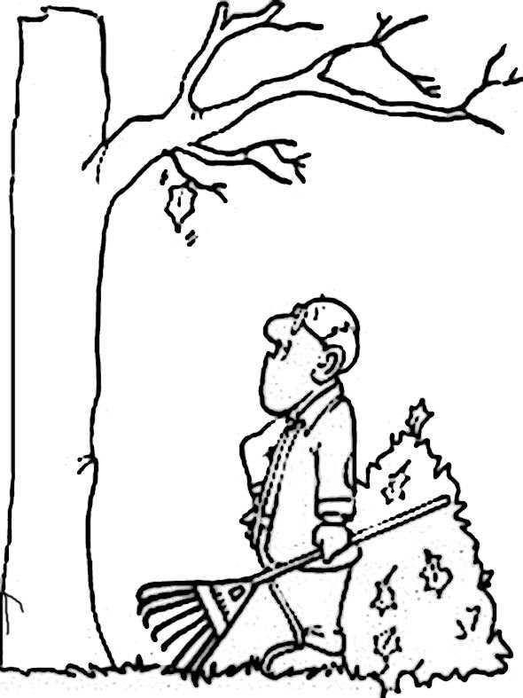 Ein Mann entfernt die Blätter im Herbst