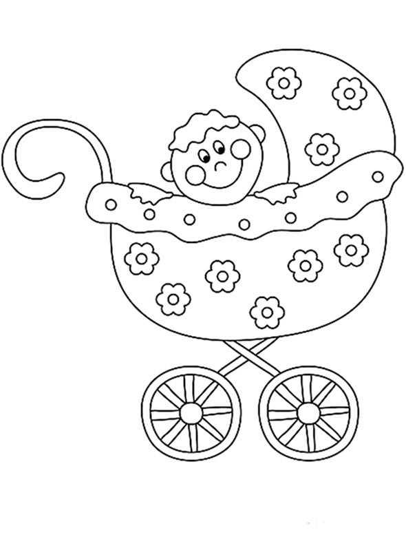 baby in kindervagen zum ausmalen