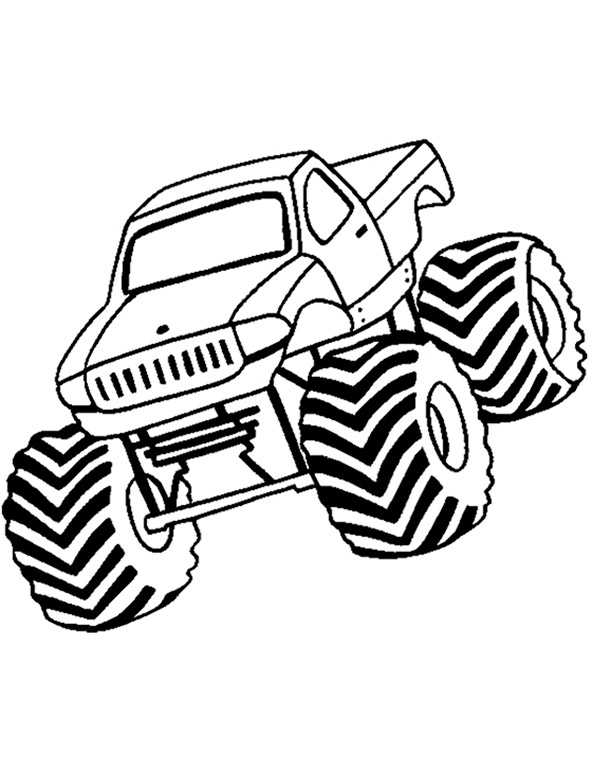 Monster Truck On Fire Coloring Page