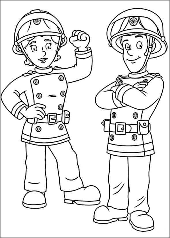 Ausmalen Feuerwehrmann Sam 1