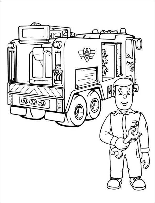 ausmalen Feuerwehrmann Sam 3
