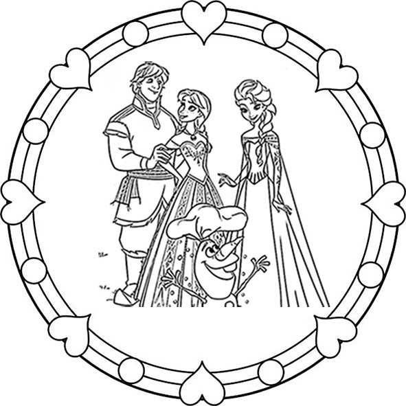 eiskönigin mandala 1 zum ausmalen