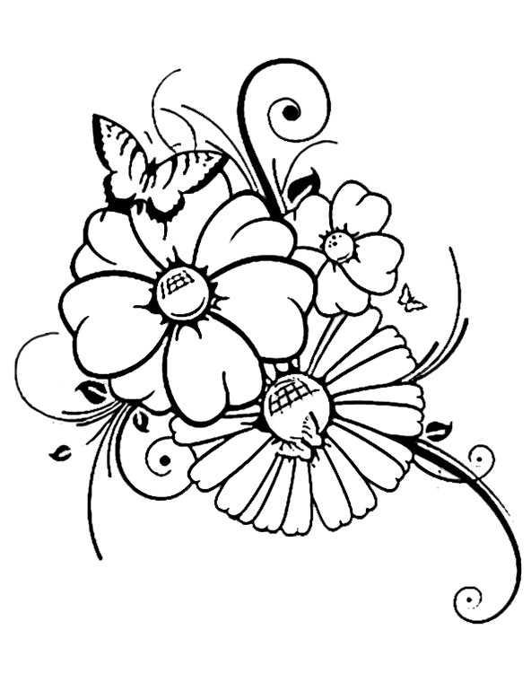 Schmetterlinge und Blumen zum ausmalen