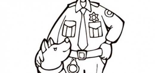 polizei und hund zum ausmalen