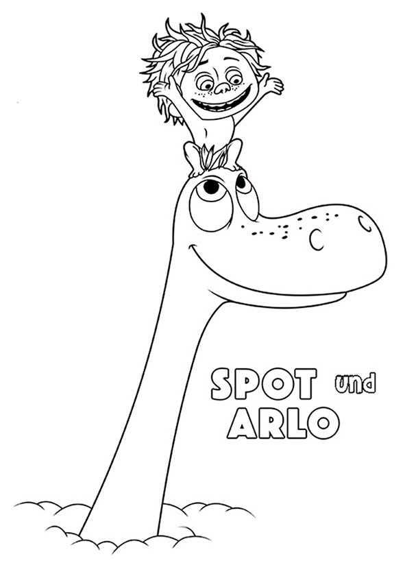 Ausmalbilder kostenlos Der Gute Dinosaurier, Spot und arlo (2)