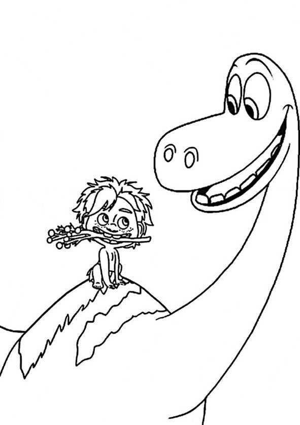 Ausmalbilder kostenlos Der Gute Dinosaurier Arlo und Spot (9)