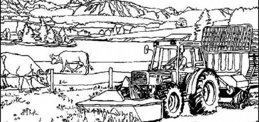 Traktor auf Bauernhof zum ausmalen (8)