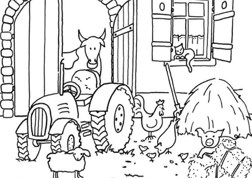 Bauernhof und Traktor Bild 9 zum ausdrucken