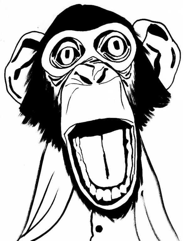 Affe zum ausmalen. Bild 10