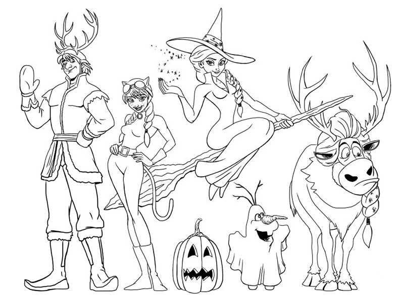 Ausmalbiler Eiskönigin Halloween
