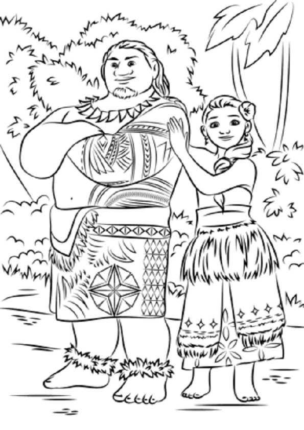 Ausmalbilder Vaiana. Tui und Sina