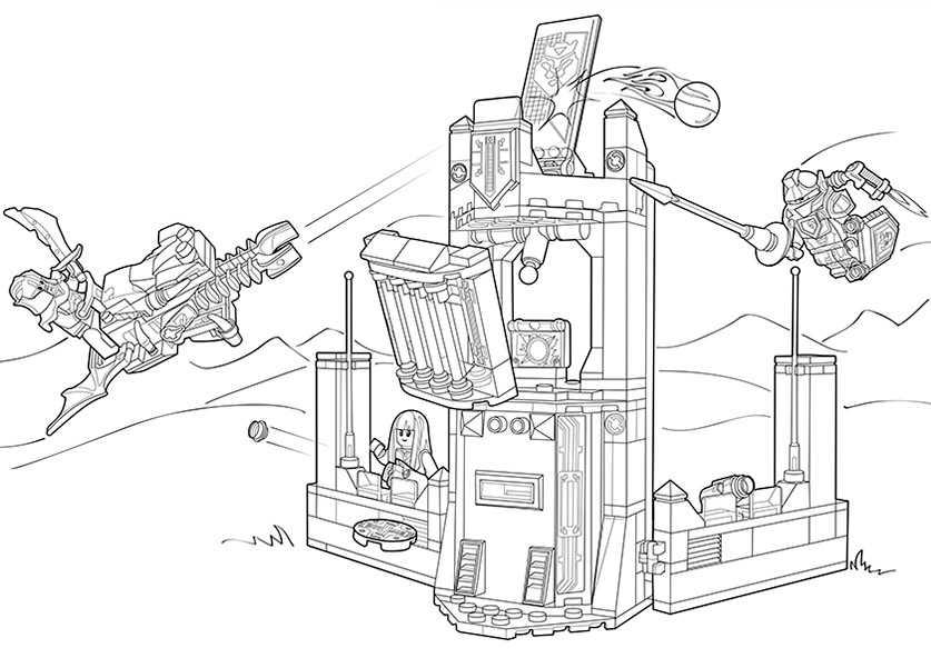 Ausmalbilder Nexo Knights Mobiler Verteidigungsturm 4