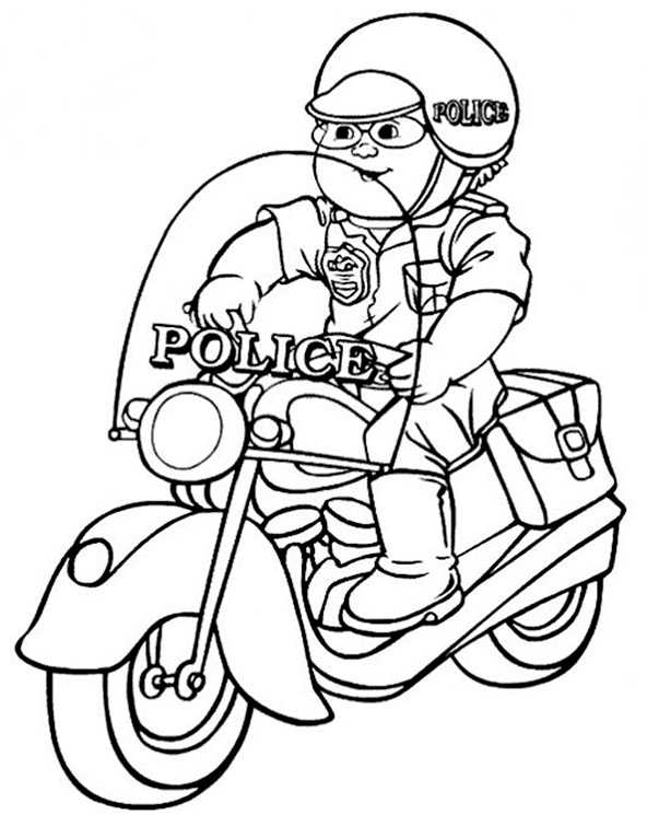 Ausmalbilder Polizei. Polizeimotorrad 12