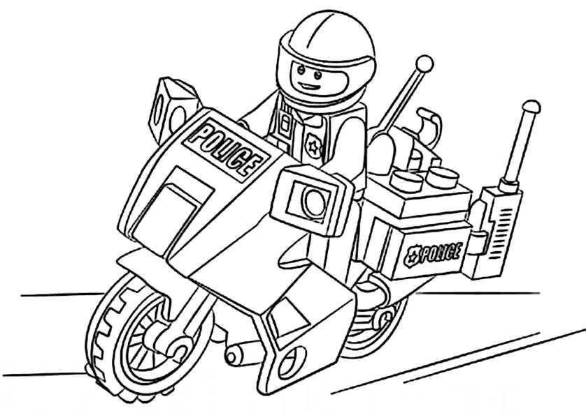 Ausmalbilder Polizeimotorrad lego 14