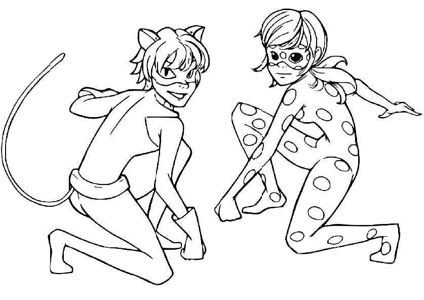 Ausmalbilder Ladybug und Cat Noir 1